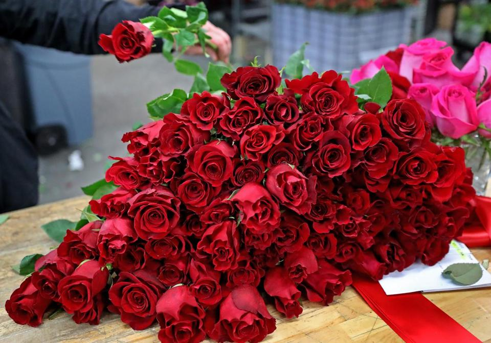Roses were cut and ready to be made into an order at Floral Design Boston.